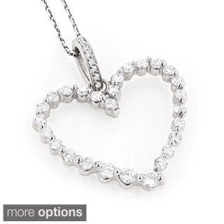Luxurman 14k Gold 1ct TDW Round Diamond Heart Necklace