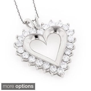 Luxurman 14k Gold 2 5/8ct TDW Round Diamond Heart Necklace (H, SI1-SI2)