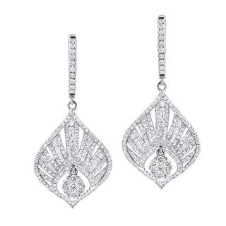 Luxurman 14k Gold 2 2/5ct TDW Diamond Drop Fan Earrings (G-H, VS1-VS2)