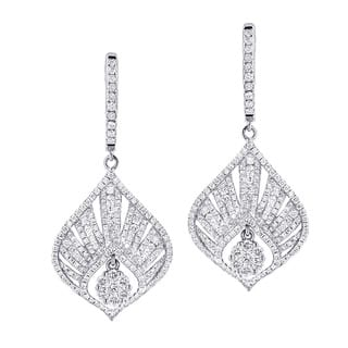 Luxurman 14k Gold 2 2/5ct TDW Diamond Drop Fan Earrings|https://ak1.ostkcdn.com/images/products/9992385/P17142336.jpg?impolicy=medium