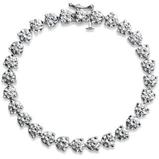 SummerRose Platinum 16ct TDW Round-cut Diamond Tennis Bracelet (I-J, VS1-VS2)
