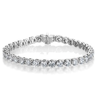 SummerRose Platinum 10 7/8ct TDW Diamond Tennis Bracelet - White