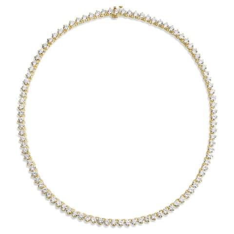 SummerRose 18k Yellow Gold 21 1/2ct TDW Tennis Necklace