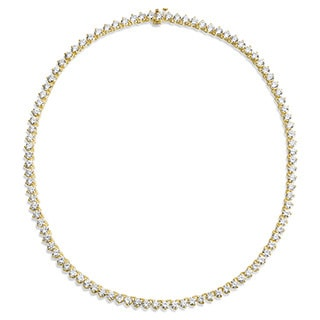 SummerRose 18k Yellow Gold 21 1/2ct TDW Tennis Necklace (H-I, VS1-VS2)