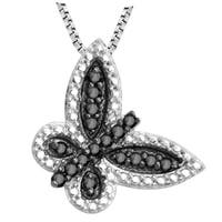 Divina Sterling Silver 1/5ct TDW Black Diamond Butterfly Pendant
