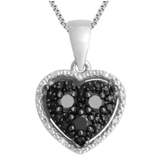 Divina Sterling Silver 1/3ct TDW Black and White Diamond  Heart Pendant (H-I, I3)