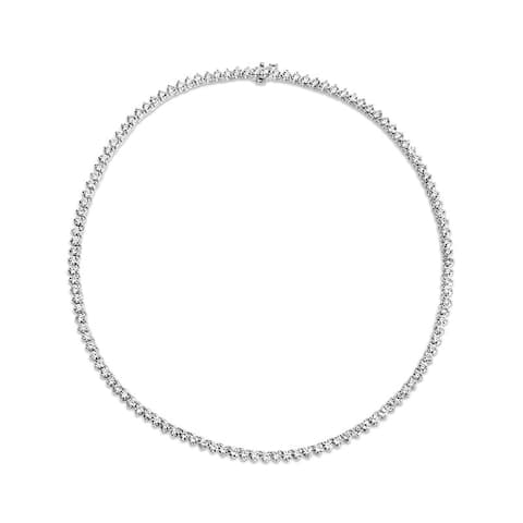 SummerRose 18k White Gold 14 1/3ct TDW Diamond 3-prong Tennis Necklace