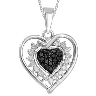 Divina Sterling Silver 1/4ct Black and White Diamond Heart Pendant (H-I, I2-I3)