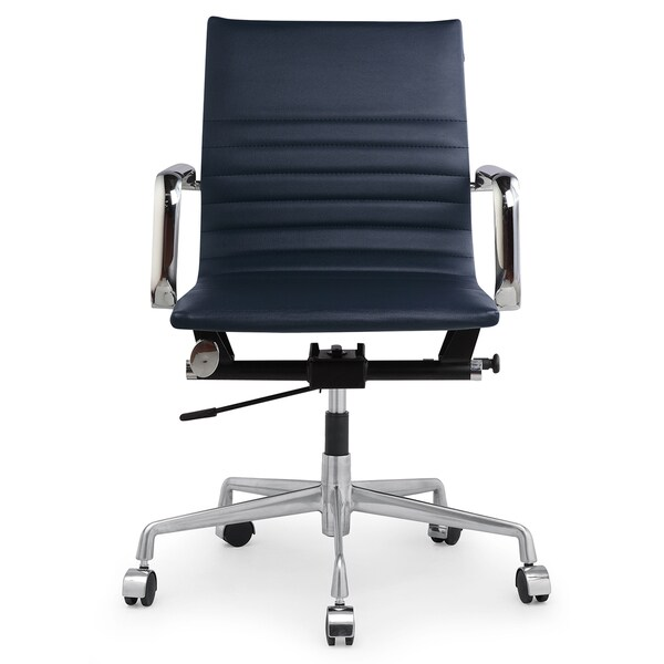 M348 Modern Navy Blue Vegan Leather Office Chair   Free Shipping Today    Overstock.com   17142639
