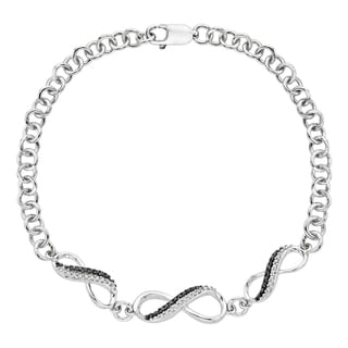 Sterling Silver 1/6ct TDW Black and White Diamond Infinity Bracelet (G-H, I2-I3)