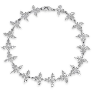 Dolce Giavonna Silver Overlay Angel Wing Bracelet