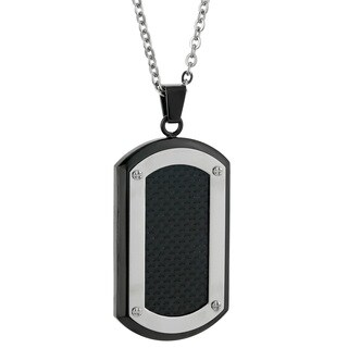 Stainless Steel Men's Carbon Fiber Accent Tag Necklace