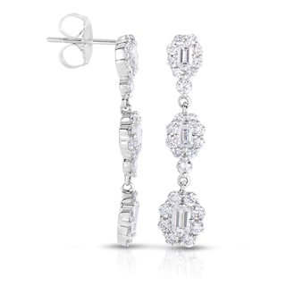 Eloquence 18k White Gold 2ct TDW Emerald Cut Diamond Earrings (H-I, VS1-VS2)