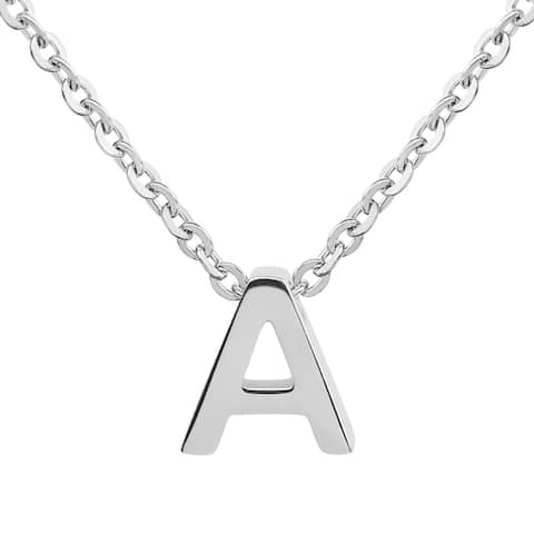 ELYA Stainless Steel Initial Pendant Necklace - 18 Inches - Silver