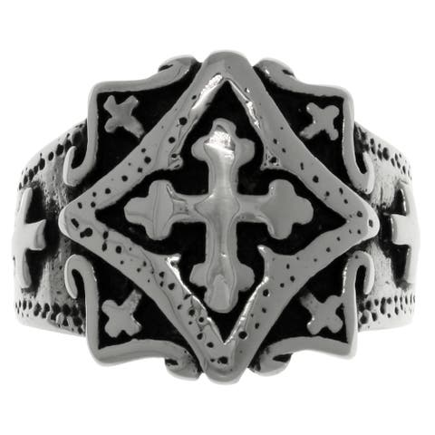 Carolina Glamour Collection Stainless Steel Band Ring with Ornamental Gothic Cross