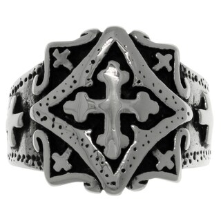 Carolina Glamour Collection Stainless Steel Band Ring with Ornamental Gothic Cross (More options available)
