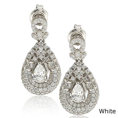Suzy L. Sterling Silver Cubic Zirconia Royal Princess Diana Earrings