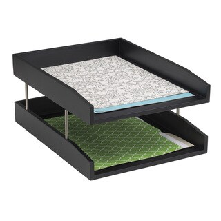Safco Black Wood Desk Double Letter Tray