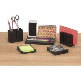 Safco Wood Desk Organizer Set