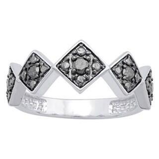 Divina Sterling Silver 1/5ct TDW Black Diamond Fashion Ring