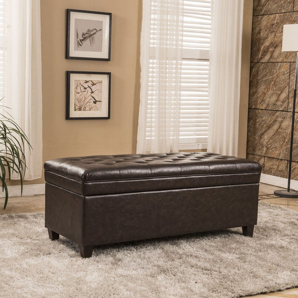 Shop Classic Waxed Texture Faux Leather Tufted Storage
