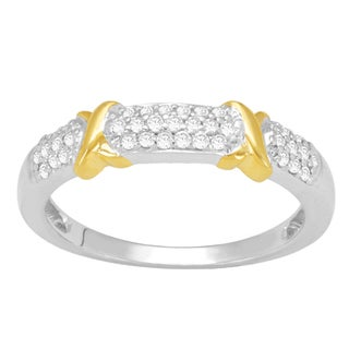 Divina 14k Goldplated Sterling Silver 1/5ct TDW Diamond Fashion Ring (H-I, I3)
