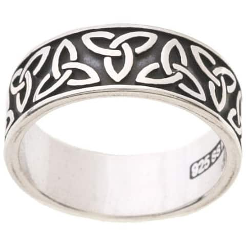 Polished Silver Oxidized Celtic-knot/Trinity Band Ring