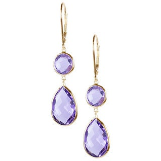 14k Yellow Gold Pink Amethyst Dangle Earrings