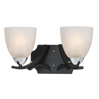 Lumenno Transitional 2-light Black with Chrome Accents Vanity-light