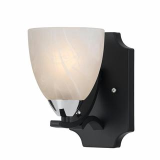 Lumenno Transitional 1-light Black with Chrome Accents Wall Sconce