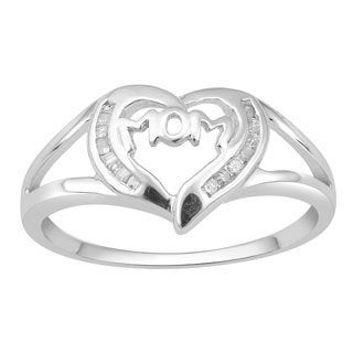 Divina Sterling Silver 1/10ct TDW Diamond 'Mom' Heart Ring (H-I, I3)