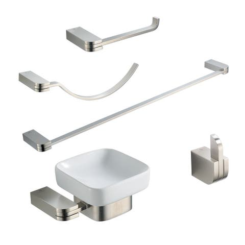 Fresca Solido 5-piece Brushed Nickel Bathroom Accessory Set - Gold