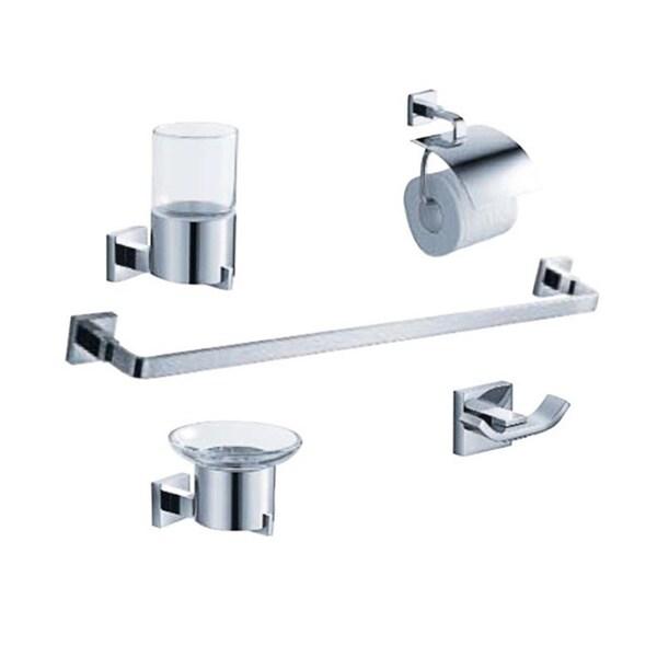Shop Fresca Glorioso 5 Piece Chrome Bathroom Accessory Set   Platinum/Chrome    Free Shipping Today   Overstock   9995175