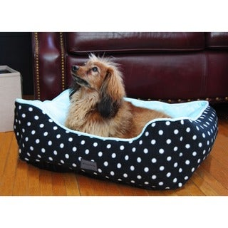drowzzzy Polka Dots Print Plush Bolster Pet Bed