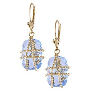 14K Yellow Gold Blue topaz Wire-wrapped Rectangle-cut Earrings