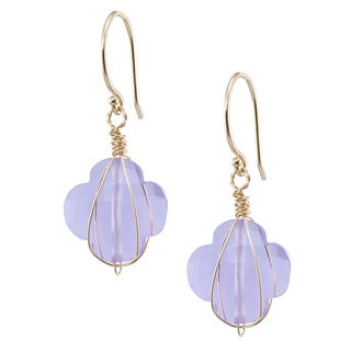 14K Yellow Gold Floral-shaped Pink Amethyst Wire-wrapped Earrings