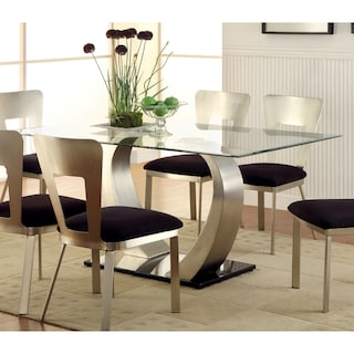 Shop Furniture Of America Sculpture Ii Silver Glass Top Dining Table - Glass-topped-dining-room-tables