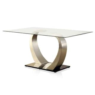 Furniture of America Sculpture II Contemporary Glass Top Dining Table Kitchen  Room Tables For Less Overstock com