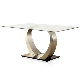 Elegant Furniture Of America Sculpture II Contemporary Glass Top Dining Table