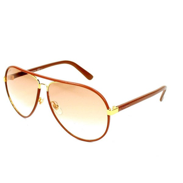 698365c653399 Shop Gucci Men s 2887 S Metal Aviator Sunglasses - Tan - Large ...