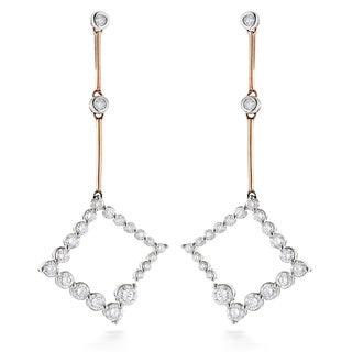Luxurman 14k Two-tone Gold 1ct. TDW Diamond Journey Earrings (H-I, SI1-SI2)