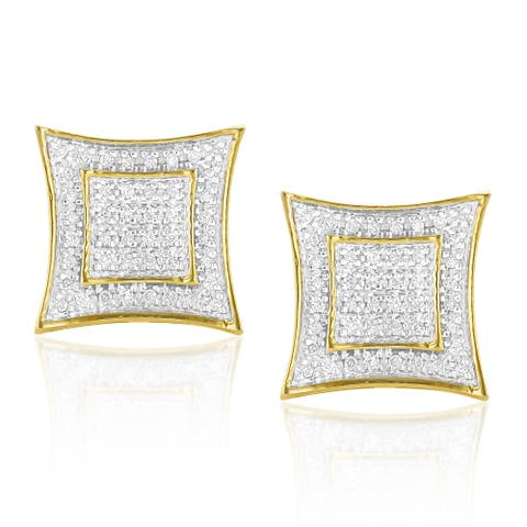 Luxurman Yellow Gold plated Silver 1/4ct TDW Diamond Square Earrings