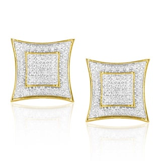 Luxurman Yellow Goldplated Silver 1/4ct TDW Diamond Square Earrings (H-I, SI1-SI2)