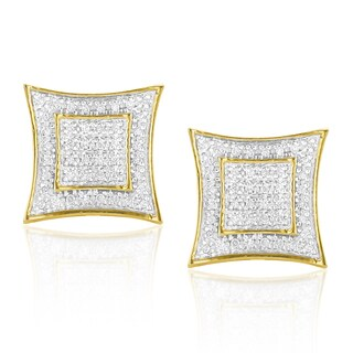Luxurman Yellow Goldplated Silver 1/4ct TDW Diamond Square Earrings