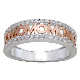 Divina Sterling Silver 1/4ct TDW Diamond 'Mom' Ring