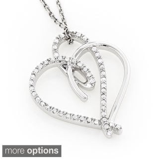 Luxurman 10k Gold 1/5ct TDW Double Heart Diamond Necklace (H-I, SI1-SI2)