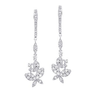 The Luxurman 14k White Gold 1 4/5ct TDW Butterfly Diamond Drop Earrings