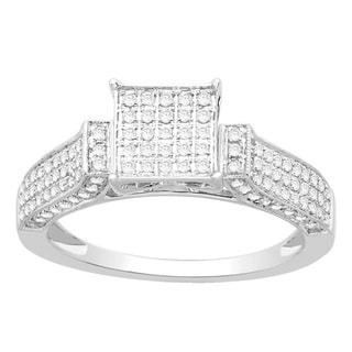 Divina Sterling Silver 1/2ct TDW Micro Pave Bridal Engagement Diamond Ring (H-I, I2-I3)
