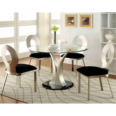 Furniture of America Sculpture III Silver 5-piece Round Dining Set