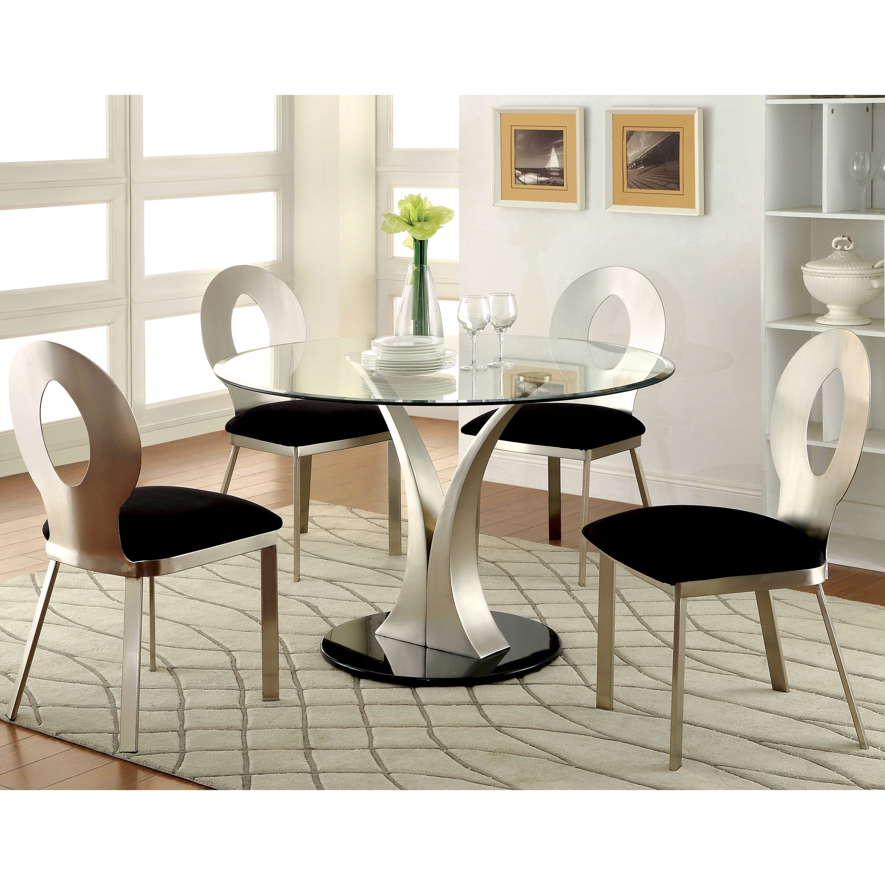 Furniture Of America Sculpture III Contemporary 5 Piece Round Dining Set    Silver